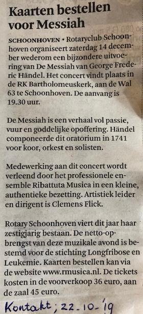 Uitvoering Messiah Schoonhoven, opbrengst gaat naar stichting Longfibrose en Leukemie.